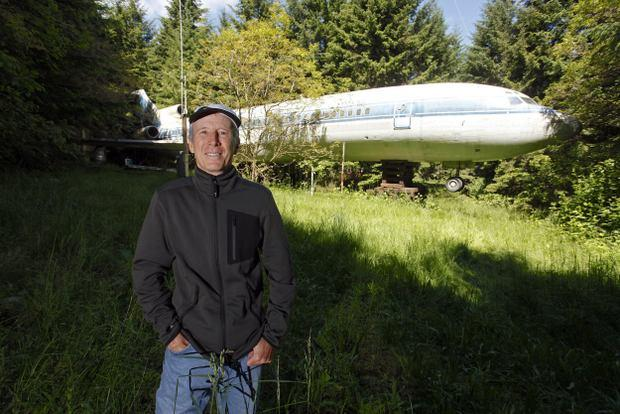 Man in lives in a plane in the woods of Oregon, US