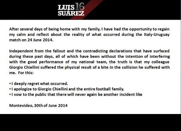 Luis Suarez's apology to Giorgio Chiellini as published on Twitter.