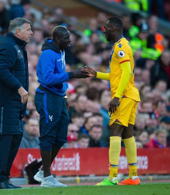 Christian Benteke celebrates scoring the second goal with Mamadou Sakho
