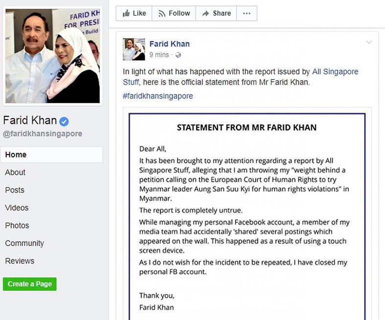 Presidential hopeful Farid Khan shuts Facebook page after gaffe