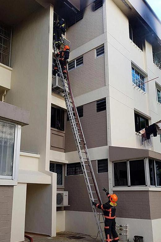 Fire victim trapped on ledge rescued
