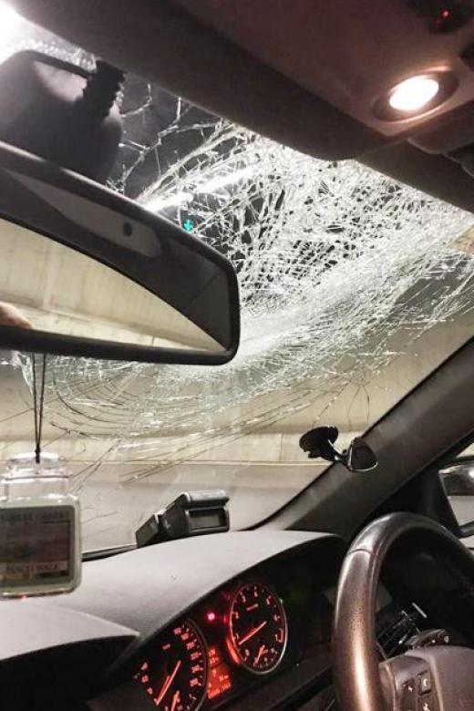 Driver swallows glass piece after chair smashes into moving car on CTE