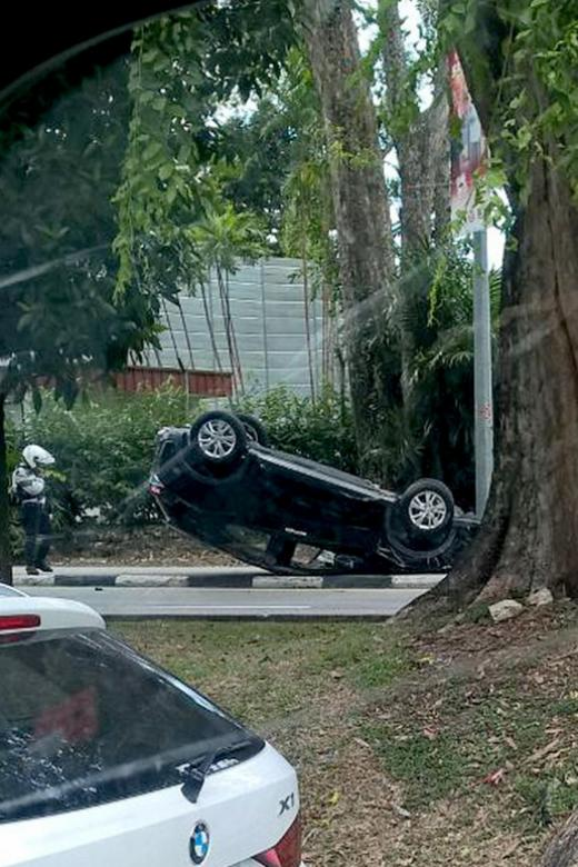 Car overturns in Grange Road accident