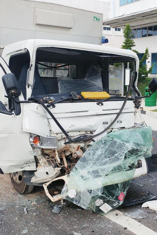 26 injured as lorry rear-ends lorry crane in Tuas