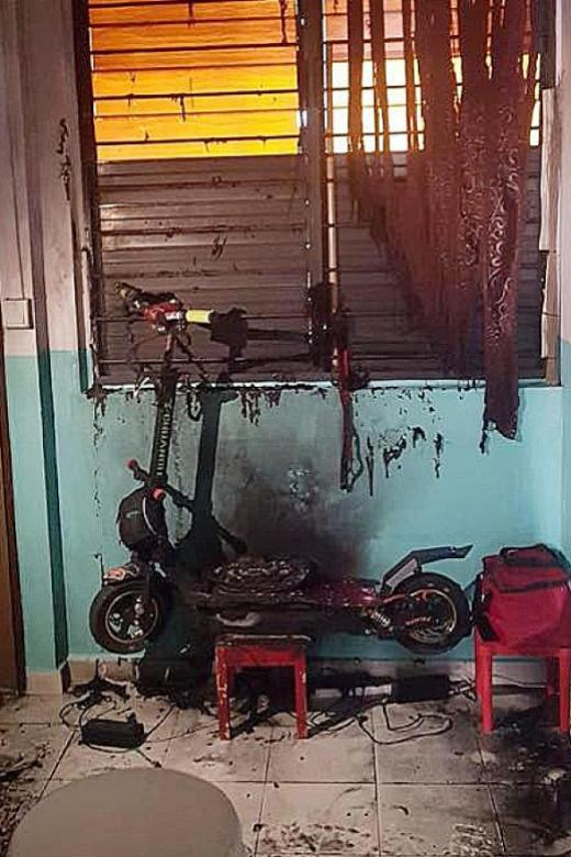 E-scooter sets off sparks and starts fire at HDB unit in Woodlands