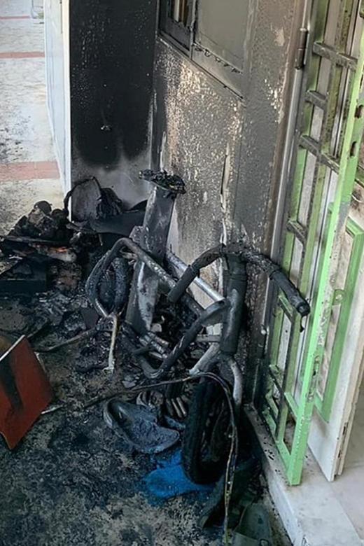 PMD catches fire while charging outside Hougang flat