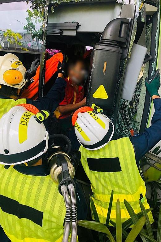 Bus driver, six others taken to hospital after accident at T2