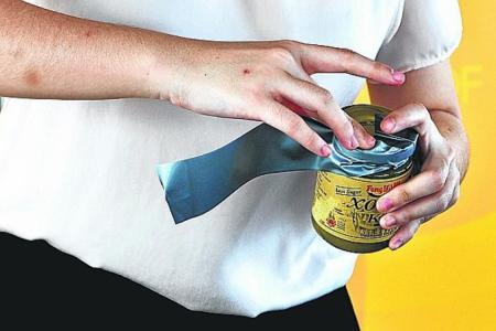Opening a jar lid with duct tape.