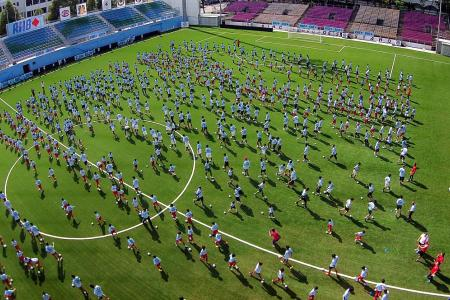 Dribbling their way into the Singapore book of records