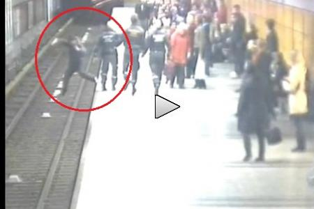 Man falls onto subway tracks, saved in the nick of time