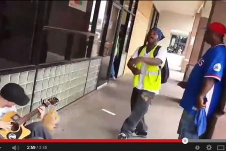 Three random strangers jam outside a grocery store... and it's good