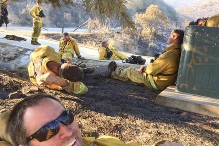 Firefighter's selfie after battling raging California fires goes viral
