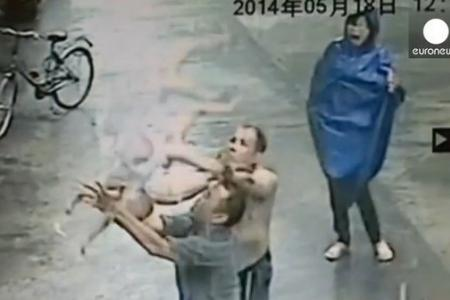 Caught on camera: Dramatic rescue of falling baby