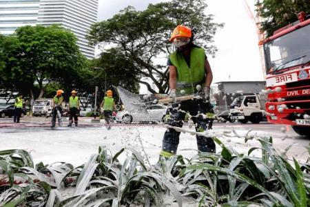 Tipper truck spills 10 tonnes of clay at Bugis