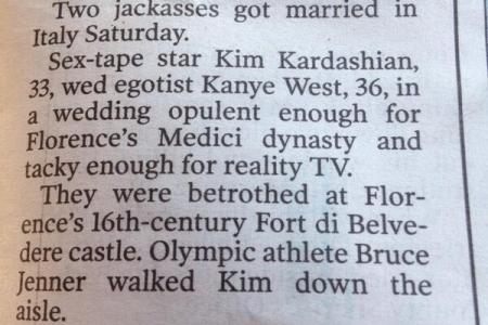 N.Y. Post's different take on the Kimye wedding