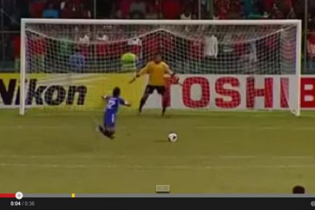 Here's an epic penalty...Maldivian falls, gets up and scores