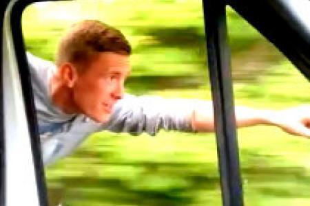 "Man ""flies"" home Superman-style alongside speeding van"