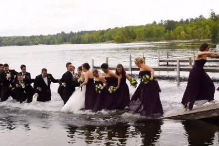 VIDEO: Wedding party photoshoot goes so, so wrong