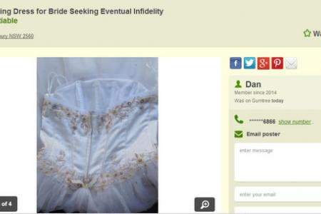 Jilted husband sells wife's wedding dress in hilarious online ad