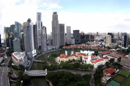 Unusual views of Singapore city skyline