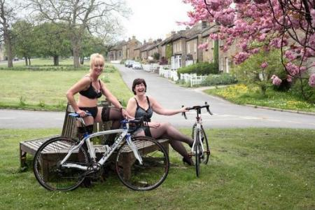Cyclists pose along Tour de France route in lingerie for charity