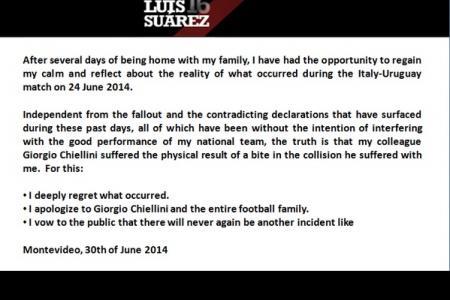 Suarez apologises to Chiellini (sort of)
