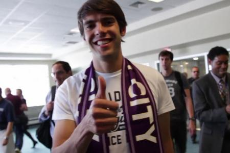 Kaka mobbed as he touches down in Orlando
