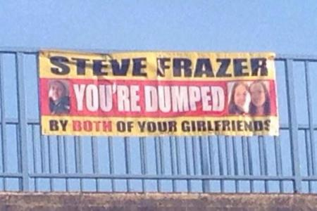 Two-timed girlfriends dump lover by hanging banner