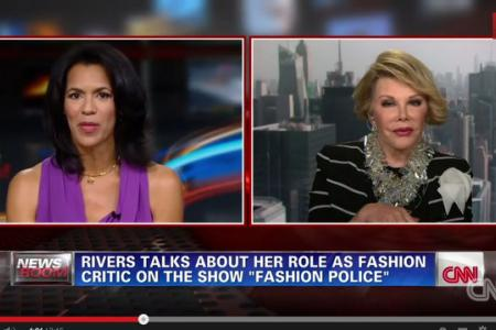 Fashion police queen Joan Rivers walks out during CNN interview