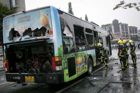 Video: Man sets crowded bus on fire