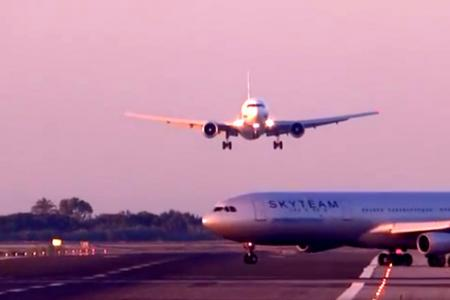 Video: Near-miss at airport as planes almost collide