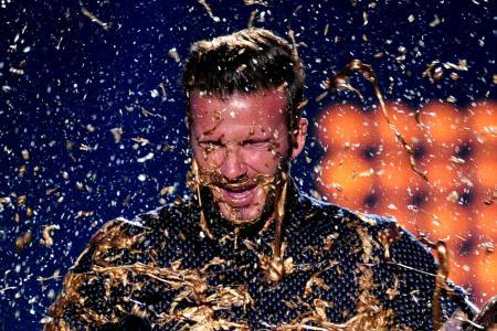 Video: David Beckham gets slimed at Kids' Choice Sports Awards