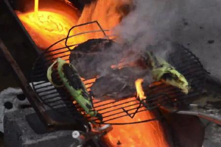 Watch these chefs use lava to cook steak