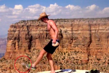 Heartless man kicks squirrel into Grand Canyon