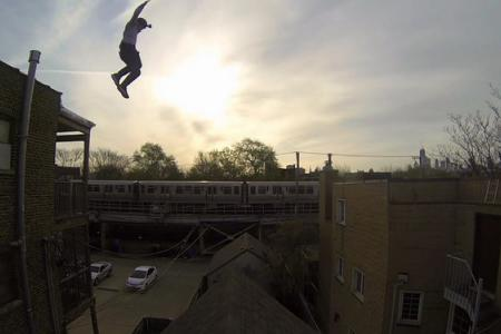 Ouch! Stuntman captures roof jump on camera