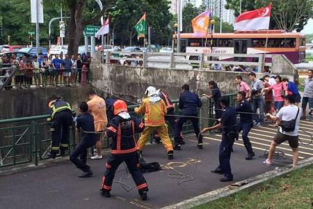 Rescuers save man who fell 3m into Hougang canal