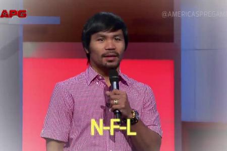 Tough guy Pacquiao sings his love for the NFL