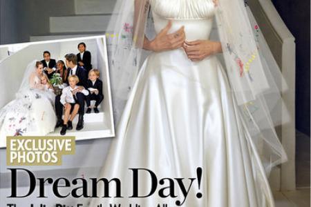 First look at Brangelina wedding pix: Jolie's dress features kids' drawings (aww)