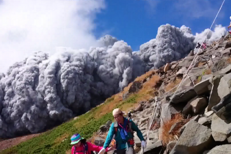 WATCH: Hikers run from Japan volcano explosion