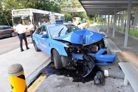 Bukit Timah accident: Taxi crashes into bus stop outside schools