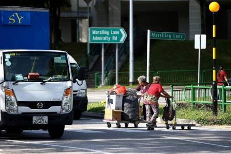 Elderly cardboard collectors still taking risks on Marsiling roads