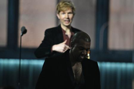 Grammys: Kanye West almost crashes winner's speech again