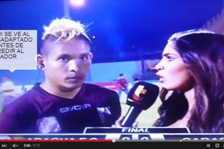 Gongfu kick floors Venezuelan player during interview