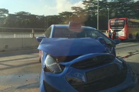 2 hurt in Serangoon Road bus-taxi crash