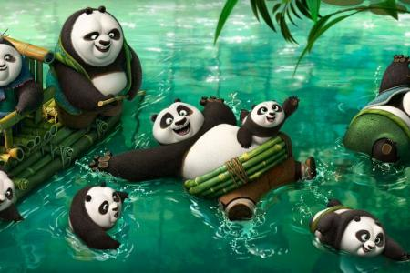 Kung Fu Panda 3: A whole panda family doing kung fu
