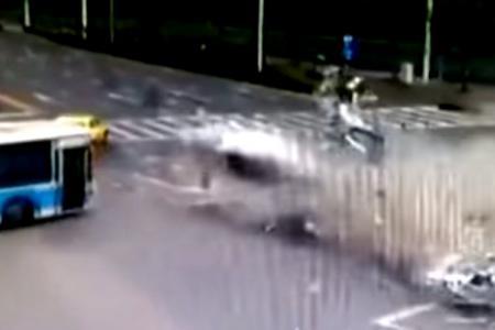 Watch: Speeding BMW slices Mazda in two