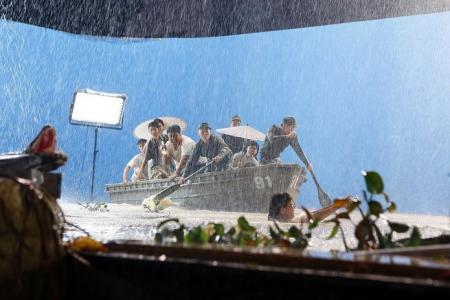 Real rescue boats used in scene