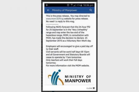 MOM debunks fake 'voluntary non-work day' Facebook post