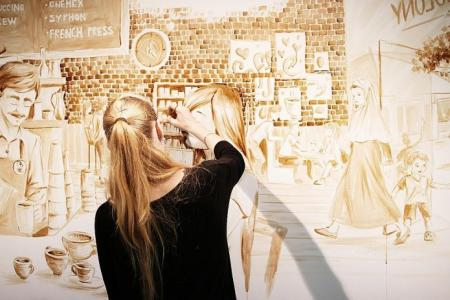 Estonian artist creates paintings with coffee in S'pore