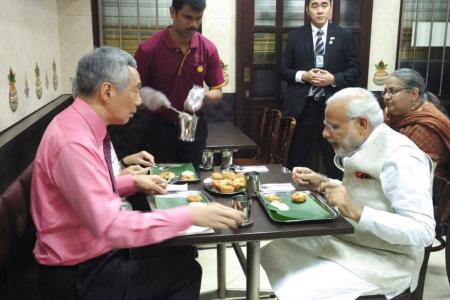 What did PM Modi and PM Lee eat at Komala Vilas?